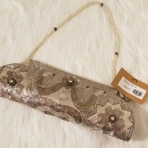 NWT Boutique Bougainvillea Beaded Evening Bag